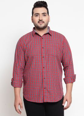 plusS Men Red Regular Fit Checked Casual Shirt