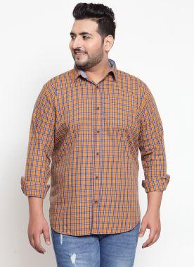 plusS Men Yellow & Navy Blue Regular Fit Checked Casual Shirt