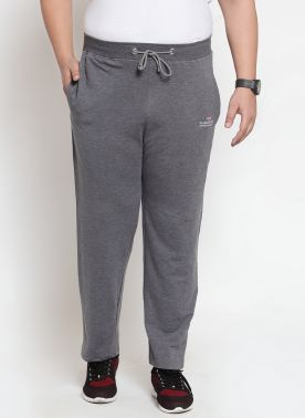 plusS Men Grey Solid Straight-Fit Trackpants