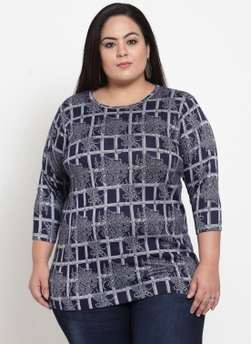 Navy Blue Printed Regular Fit T-Shirt