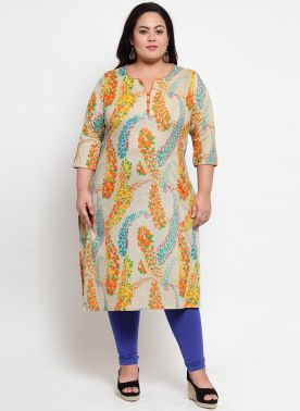 Beige & Blue Printed Straight Kurta