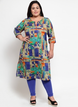 Multicoloured Printed Straight Kurta