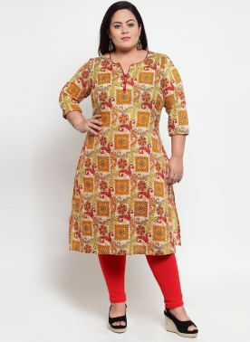 Beige & Yellow Printed Straight Kurta
