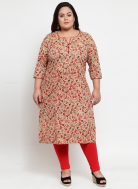 Beige & Red Printed Straight Kurta