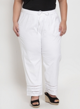 Off-White Wide Leg Solid Palazzos