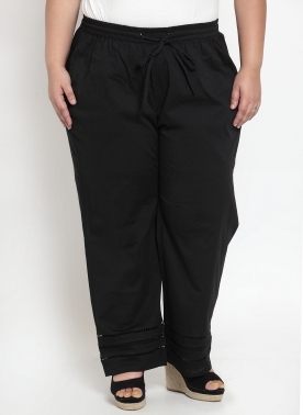 Black Wide Leg Solid Palazzos