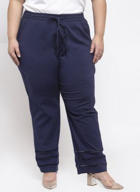 Navy Wide Leg Solid Palazzos