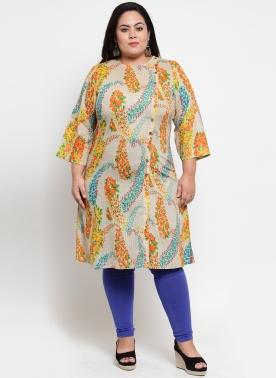 Women Beige & Blue Printed Straight Kurta
