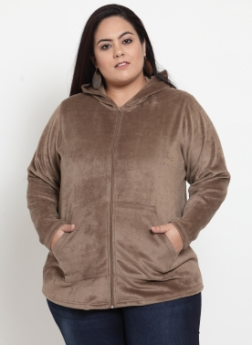 Women Beige Solid Hooded