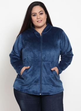Women Blue Solid Hooded Sweatshirt