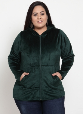 Women Green Solid Hooded Sweatshirt