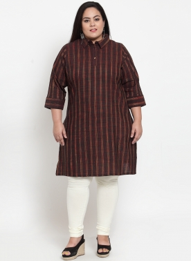 Brown Stripe Straight Kurta