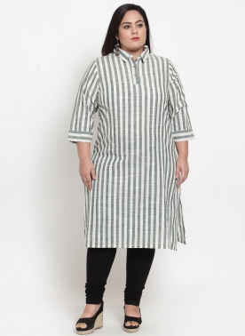Grey Stripe Straight Kurti