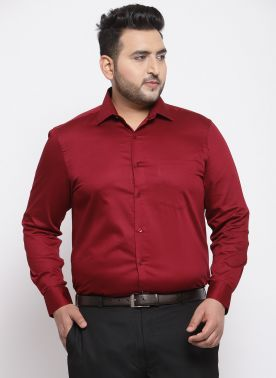 Men Maroon Comfort Regular Fit Solid Formal Shirt
