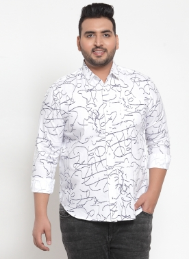 Men White Regular Fit Printed Casual Shirt
