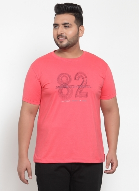 Men Coral Printed Round Neck T-shirt