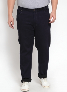 Navy Tapered Fit Mid-Rise Clean Look Stretchable Jeans