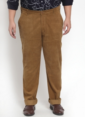 Brown Sharp Fit Solid Regular Corduroy Trousers