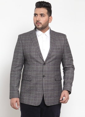 Grey Checked Tailored-Fit Single-Breasted Blazer