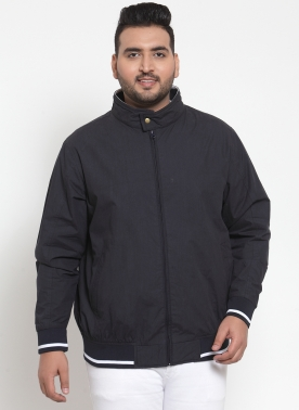 Men Navy Blue Solid Puffer Jacket