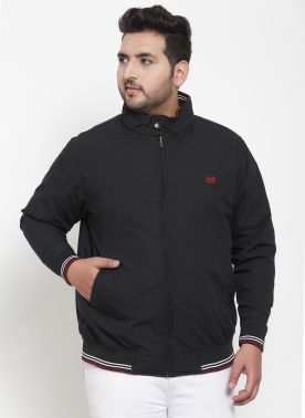 Men Black Solid Puffer Jacket