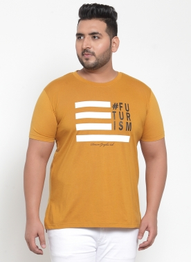 Men Mustard Printed Round Neck T-shirt