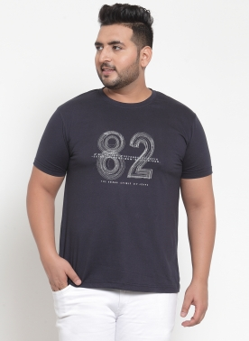 Men Navy Blue (82) Printed Round Neck T-shirt