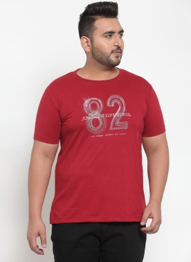 Men Maroon (82) Printed Round Neck T-shirt