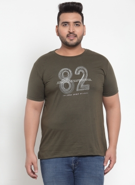 Olive printed T-shirt, has a round neck, short sleeves