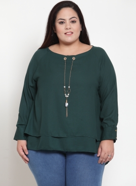 Women Green Solid High-Low Top