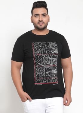 Men (VISIONARY)Black Printed Round Neck T-shirt