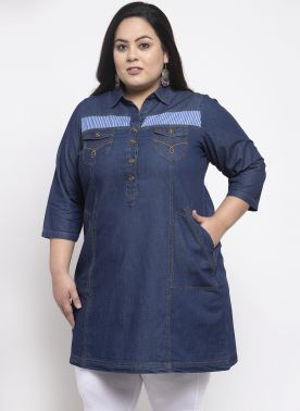 Women Blue Solid Shirt Dress