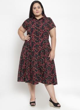 Women Black Printed Shirt Dress