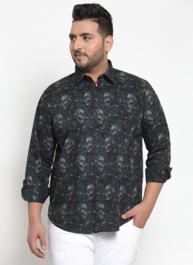Men Green Regular Fit Printed Casual Shirt