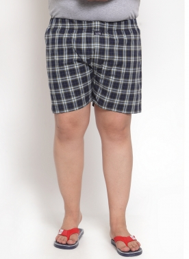 Men Navy Blue & Brown Checkered Pure Cotton