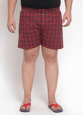 Men Red & Blue Checkered Pure Cotton Boxer