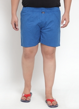 BLUE CHECKERED PURE COTTON BOXER
