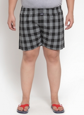 Men Brown & Blue Checkered Pure Cotton Boxer