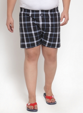 Men Navy Blue & White Checkered Pure Cotton