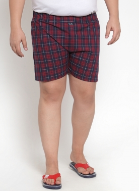 Men Red & Navy Blue Checkered Pure Cotton