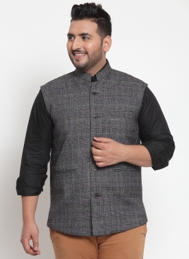 Men Grey Solid Wool Nehru Jacket