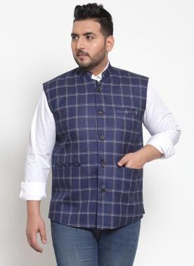 Men Navy Blue Solid Wool Nehru Jacket