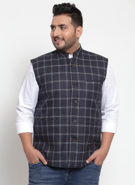Men Grey Checked Nehru Jacket