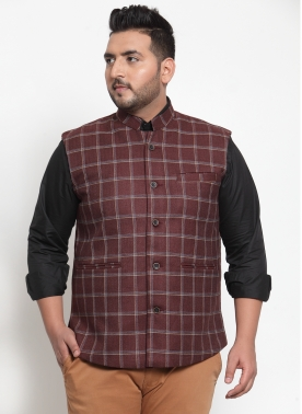 Men Maroon Checked Nehru Jacket