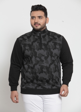 Men Black Camouflage Printed Pullover