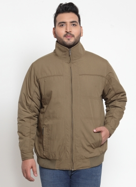 Men Beige Solid Bomber Jacket