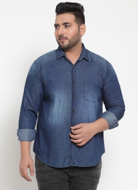 Men Blue Comfort Regular Fit Solid Casual Shirt