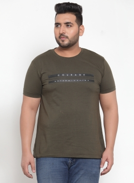 Men Olive Green Printed Round Neck T-shirt