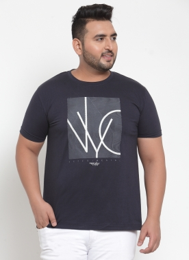 Men Navy Blue Printed Round Neck T-shirt