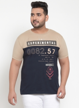 Men Beige Printed Round Neck T-shirt